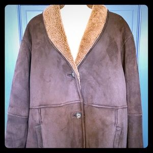 Genuine suede shearling coat, chocolate brown